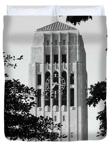 Black And White Clock Tower Duvet Cover