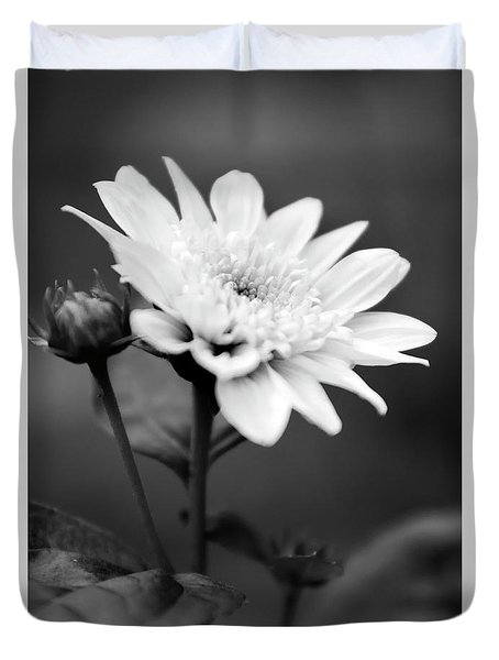 Duvet Cover featuring the photograph Black And White Coreopsis Flower by Christina Rollo