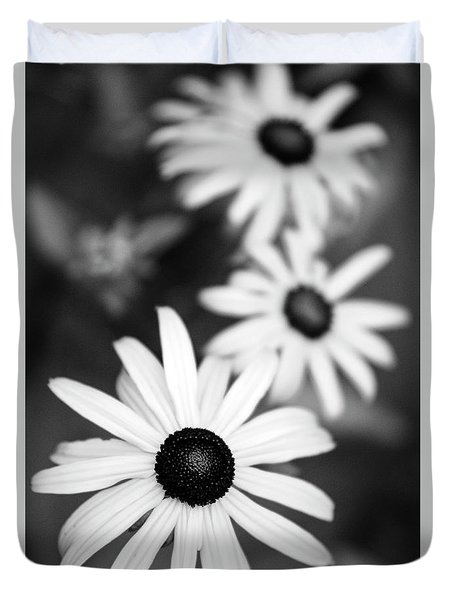 Duvet Cover featuring the photograph Black And White Daisies by Christina Rollo