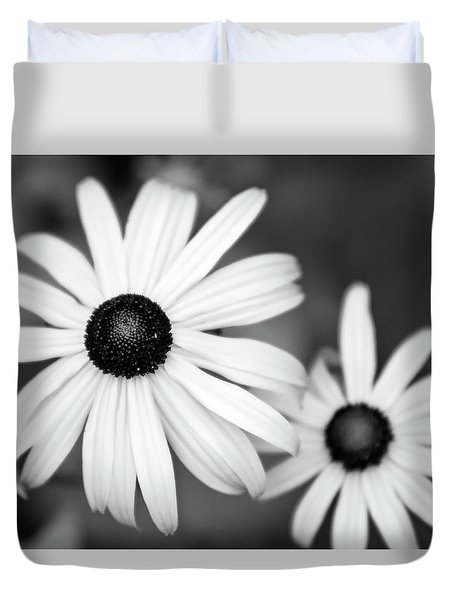 Duvet Cover featuring the photograph Black And White Daisy by Christina Rollo
