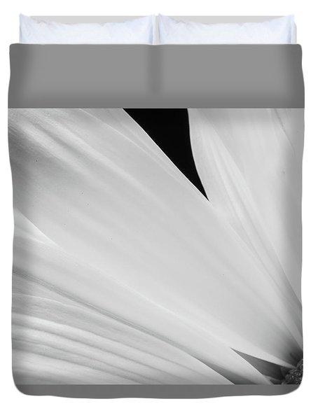 Black And White Daisy Flower Peeking Duvet Cover