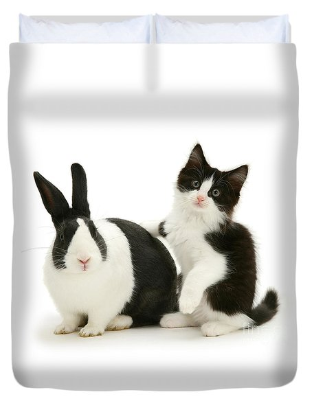 Black And White Double Act Duvet Cover