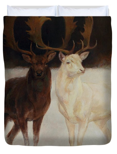 Black And White Fallow Deers Duvet Cover