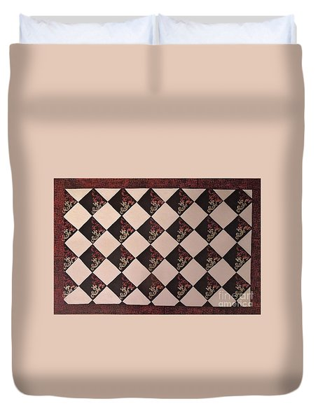 Black And White Checkered Floor Cloth Duvet Cover by Judith Espinoza