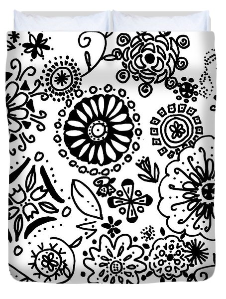 Black And White Floral Doodle Duvet Cover