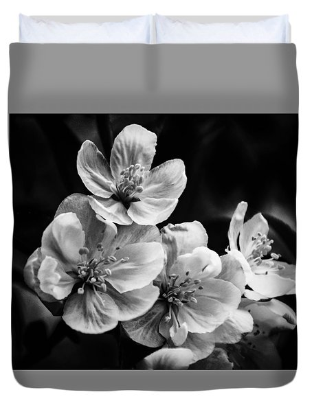 Black And White Flowers Duvet Cover