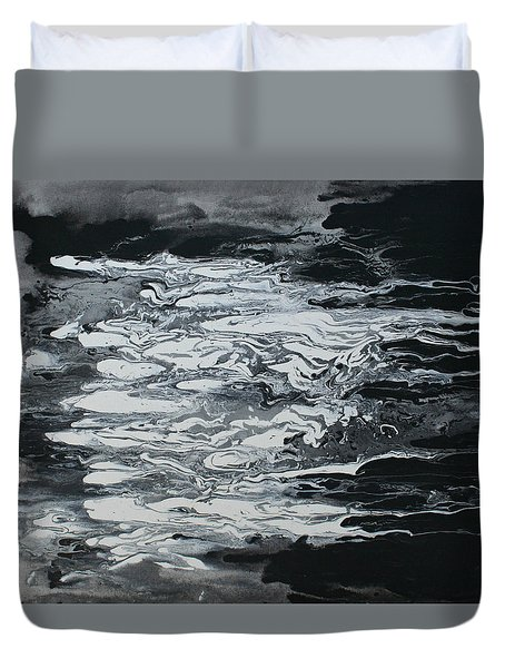 Black And White Fluid Painting Duvet Cover