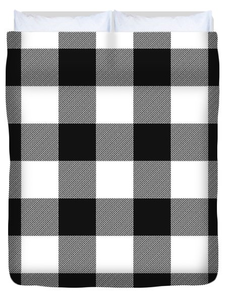 Black And White Gingham Large- Art By Linda Woods Duvet Cover