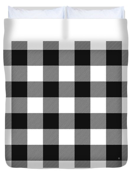 Duvet Cover featuring the mixed media Black And White Gingham Large- Art By Linda Woods by Linda Woods