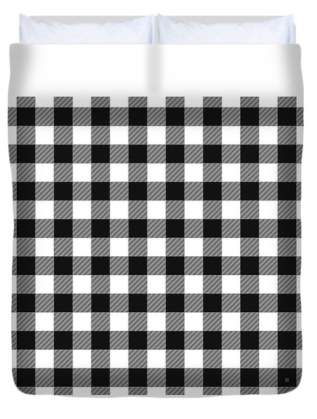 Duvet Cover featuring the digital art Black And White Gingham Small- Art By Linda Woods by Linda Woods