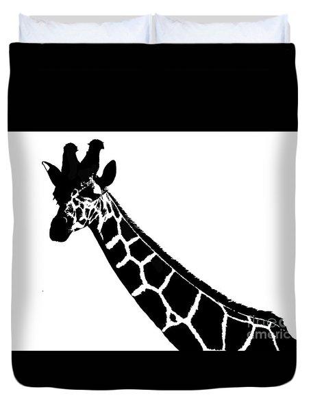 Duvet Cover featuring the digital art Black And White Giraffe by Maja Sokolowska