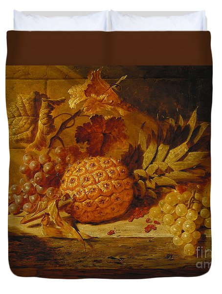 Black And White Grapes, Pears, Redcurrants And A Pineapple On A Ledge, 1845  Duvet Cover