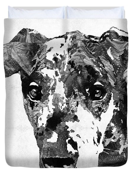Black And White Great Dane Art Dog By Sharon Cummings Duvet Cover