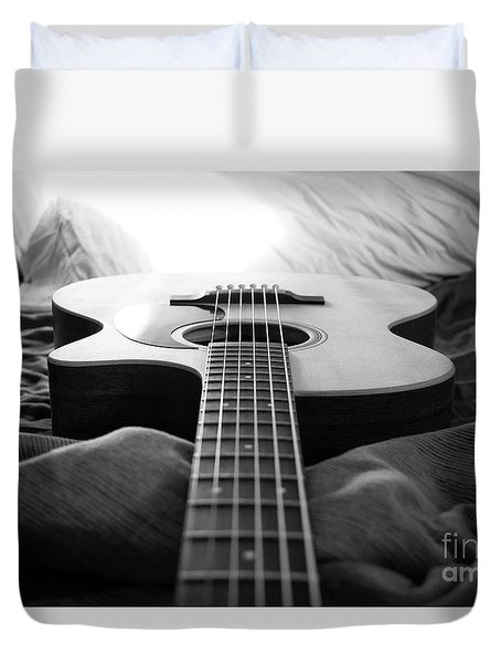Duvet Cover featuring the photograph Black And White Guitar by MGL Meiklejohn Graphics Licensing