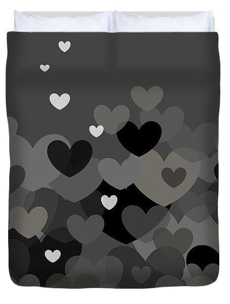 Black And White Heart Abstract Duvet Cover