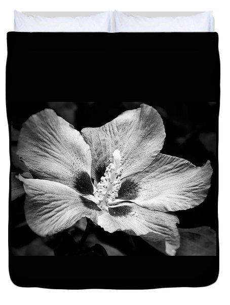 Duvet Cover featuring the photograph Black And White Hibiscus  by Karen Stahlros