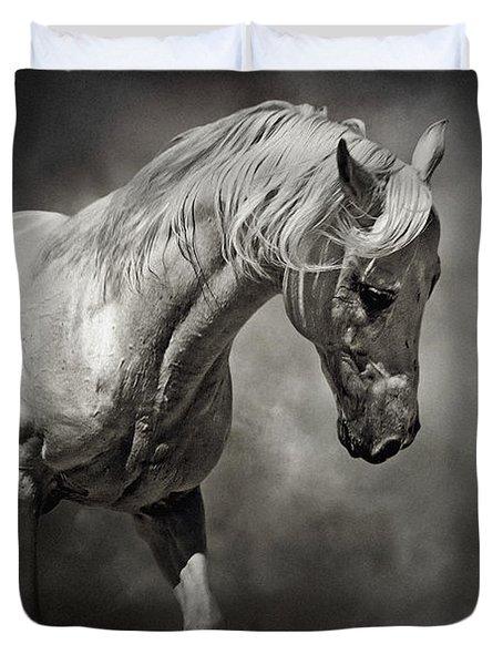 Black And White Horse - Equestrian Art Poster Duvet Cover