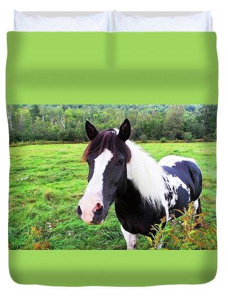Black And White Horse-natural Setting Duvet Cover