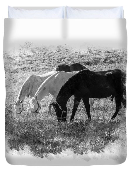 Duvet Cover featuring the photograph Black And White Horse Trio Grazing by Eleanor Abramson