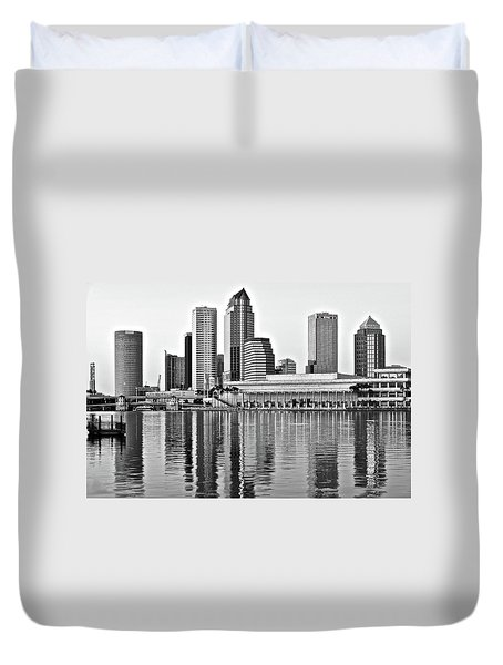 Black And White In The Heart Of Tampa Bay Duvet Cover by Frozen in Time Fine Art Photography
