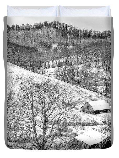 Black And White In Winter Duvet Cover