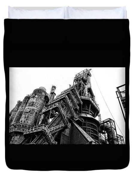 Black And White Industrial - Bethlehem Steel Duvet Cover by Bill Cannon