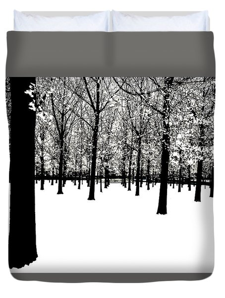 Duvet Cover featuring the photograph Black And White by Jim Dollar
