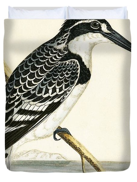 Black And White Kingfisher Duvet Cover