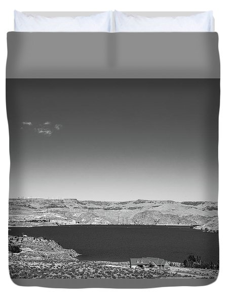Black And White Landscape Photo Of Dry Glacia Ancian Rock Desert Duvet Cover by Jingjits Photography