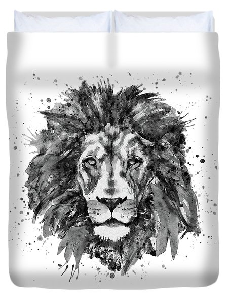 Duvet Cover featuring the mixed media Black And White Lion Head  by Marian Voicu