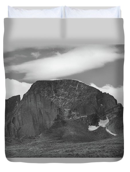 Duvet Cover featuring the photograph Black And White Longs Peak Detail by Dan Sproul