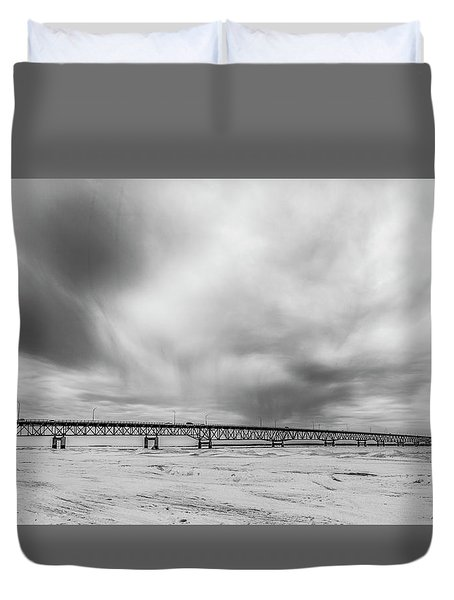 Duvet Cover featuring the photograph Black And White Mackinac Bridge Winter by John McGraw