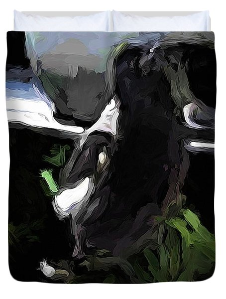 Black And White Magpie On The Porch Duvet Cover