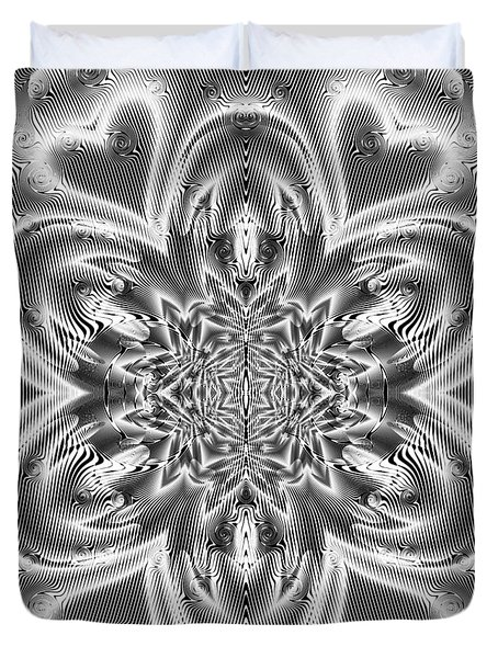 Duvet Cover featuring the digital art Black And White Mandala 9 by Robert Thalmeier