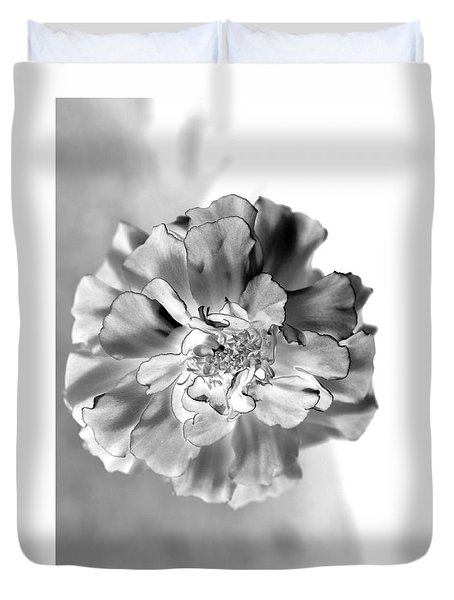 Black And White Marigold Duvet Cover by Christine Ricker Brandt