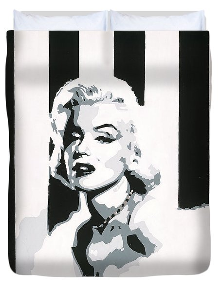 Duvet Cover featuring the painting Black And White Marilyn by Ashley Price