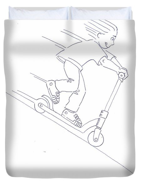 Black And White Micro Scooter Downhill Drawing Duvet Cover