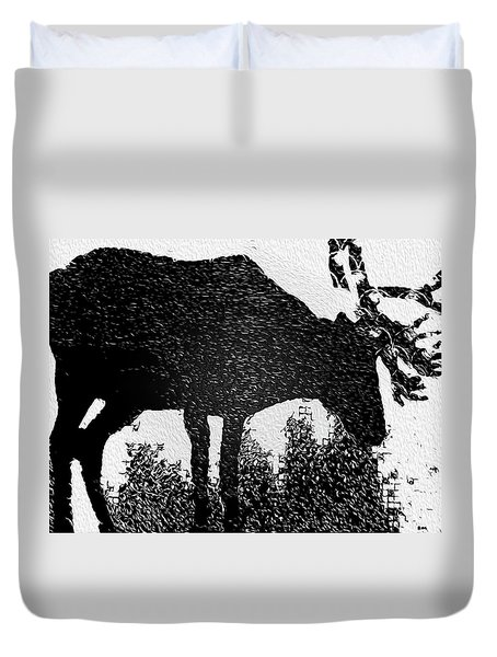 Black And White Moose Duvet Cover by Robert Margetts