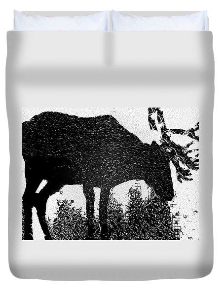Black And White Moose Duvet Cover