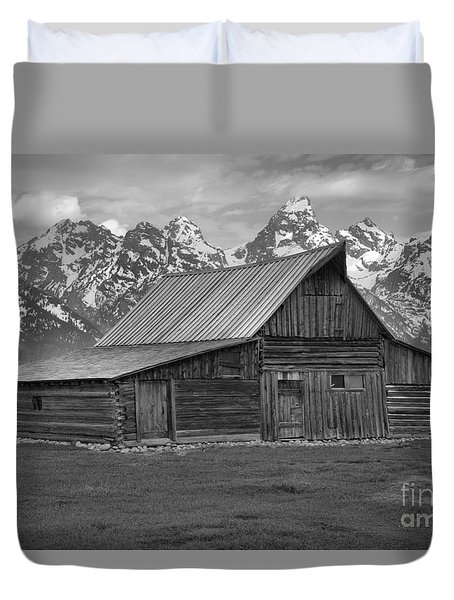 Black And White Mormon Row Barn Duvet Cover by Adam Jewell