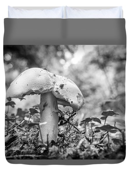 Duvet Cover featuring the photograph Black And White Mushroom. by Gary Gillette