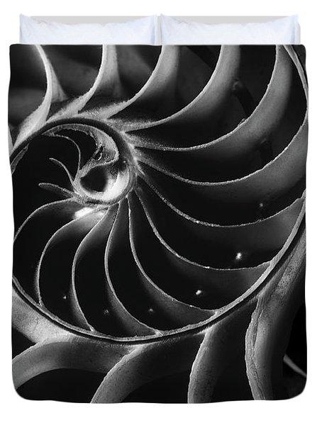 Black And White Nautilus Shells Duvet Cover