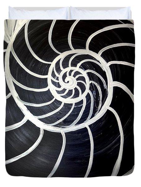 Black And White Nautilus Spiral Duvet Cover