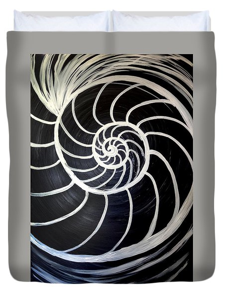 Black And White Nautilus Spiral Duvet Cover