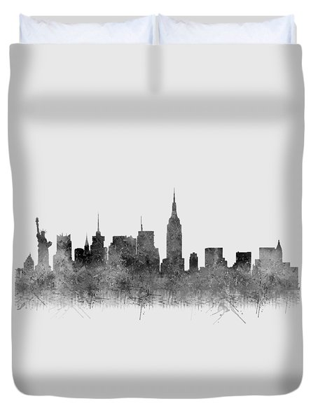 Duvet Cover featuring the digital art Black And White New York Skylines Splashes And Reflections by Georgeta Blanaru