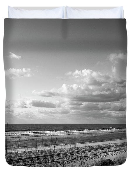 Black And White Ocean Scene Duvet Cover