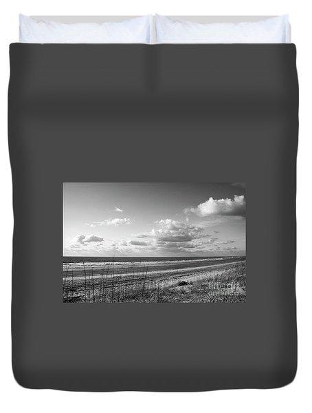 Black And White Ocean Scene Duvet Cover