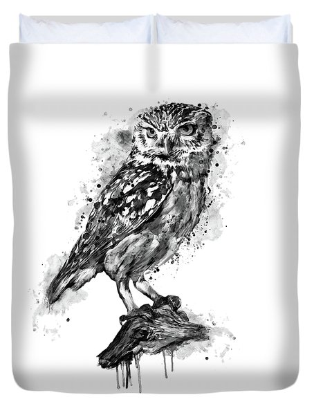 Duvet Cover featuring the mixed media Black And White Owl by Marian Voicu