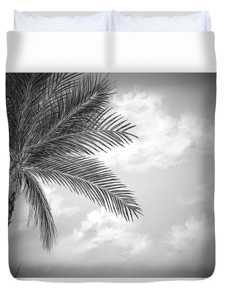 Duvet Cover featuring the digital art Black And White Palm by Darren Cannell