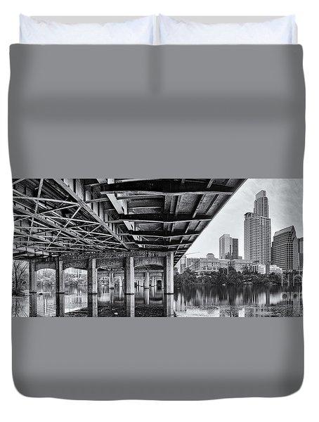 Black And White Panorama Of Downtown Austin Skyline Under The Bridge - Austin Texas  Duvet Cover by Silvio Ligutti